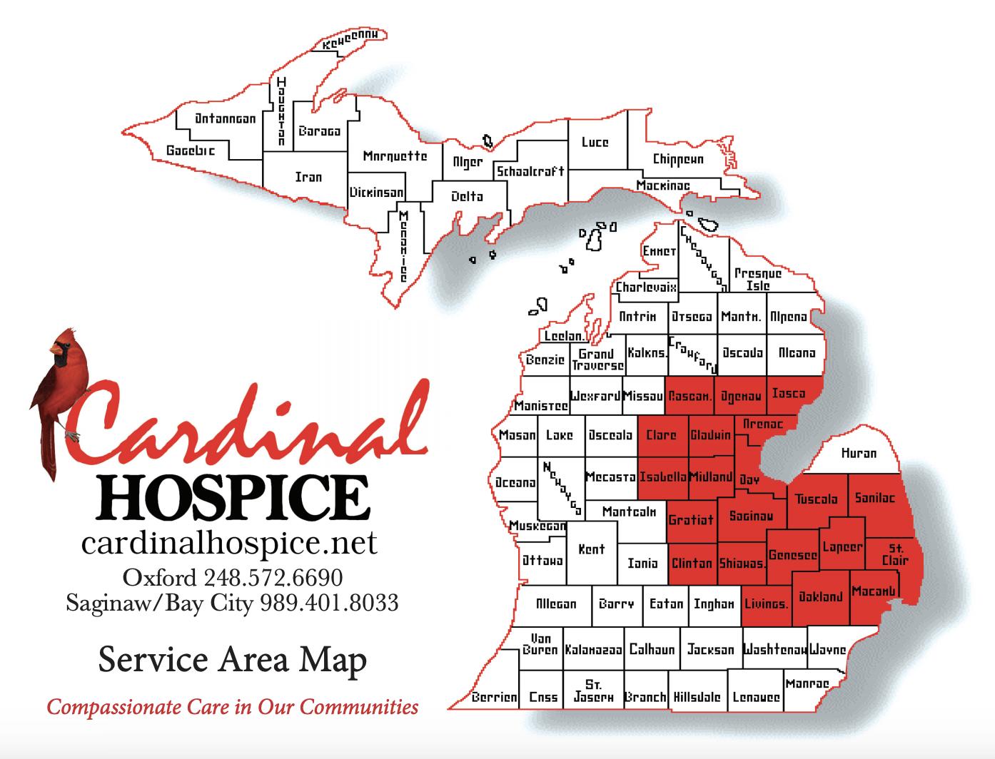 Cardinal Hospice Michigan Service Areas